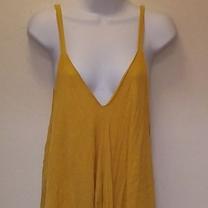 Dresses - Mustard Yellow Asymmetrical Sheath Maxi Dress